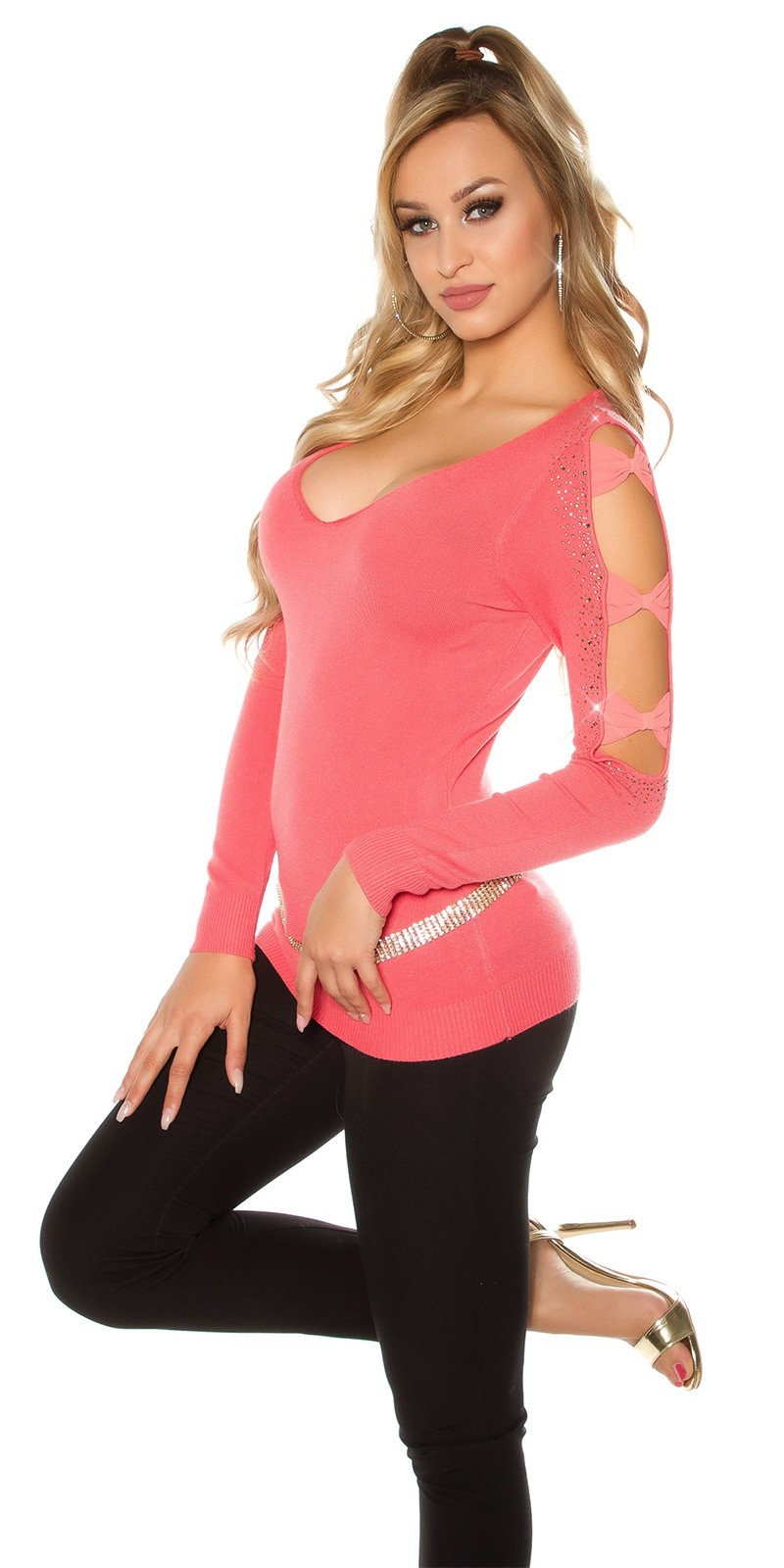 Sexy Koucla pullover with rhinestones and loops Coral