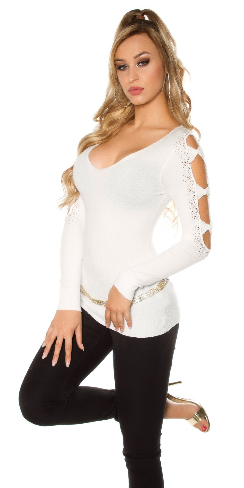 Sexy Koucla pullover with rhinestones and loops Cream