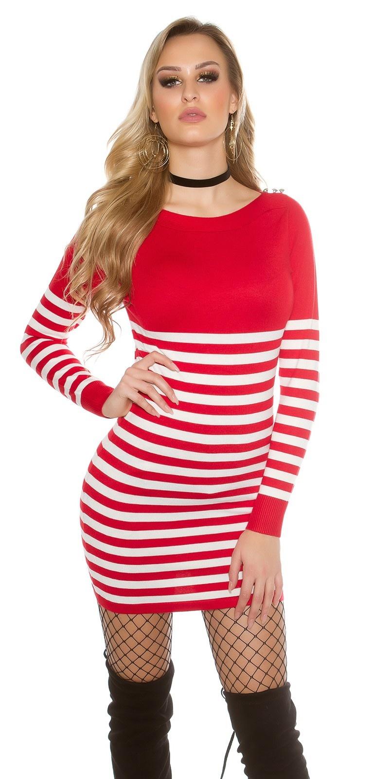 Sexy sweater-trui/jurk gestreept met knopen rood