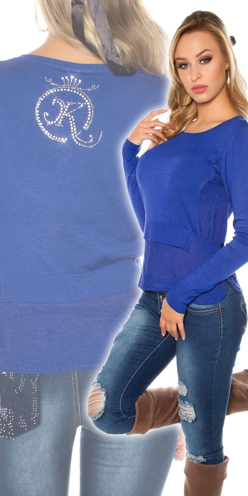 Sexy 2 in 1 sweater-trui koningsblauw