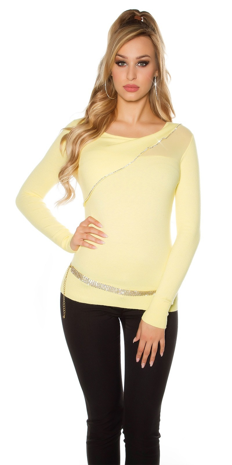 Sexy Koucla Pullover with artful cut Yellow