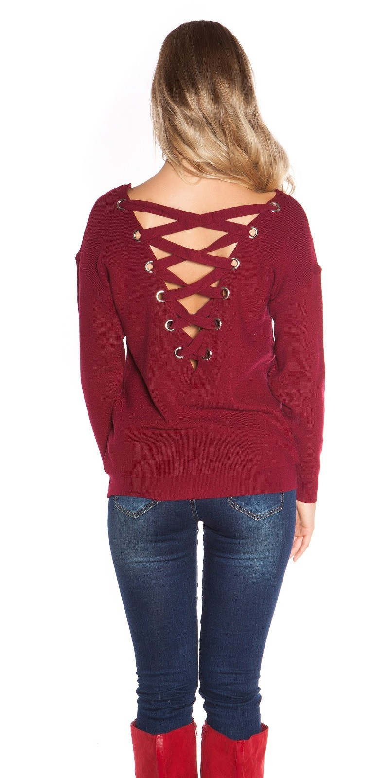 Sexy v-hals gebreide sweater-trui met xl veter bordeaux