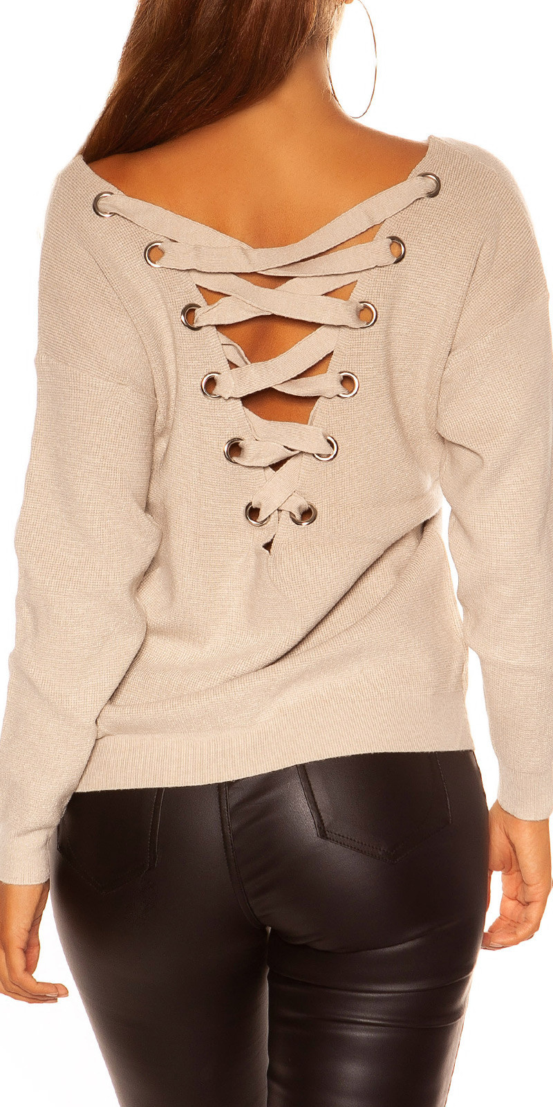 Sexy KouCla V-Cut knit sweater with XL lacing Beige