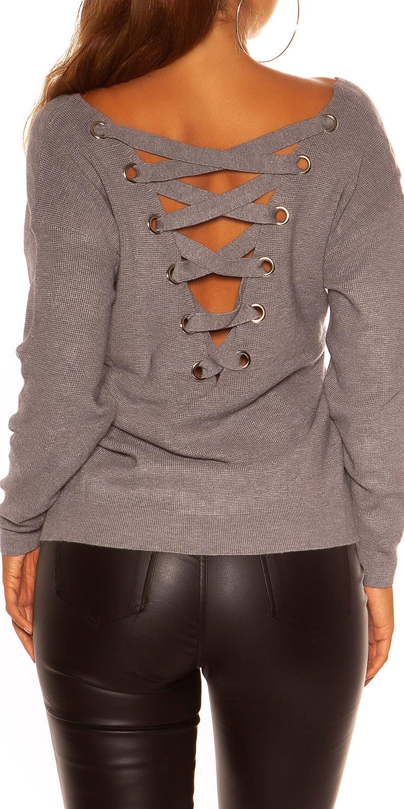 Sexy KouCla V-Cut knit sweater with XL lacing Grey