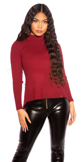 Sexy KouCla ribbed sweater with back lacing Bordeaux