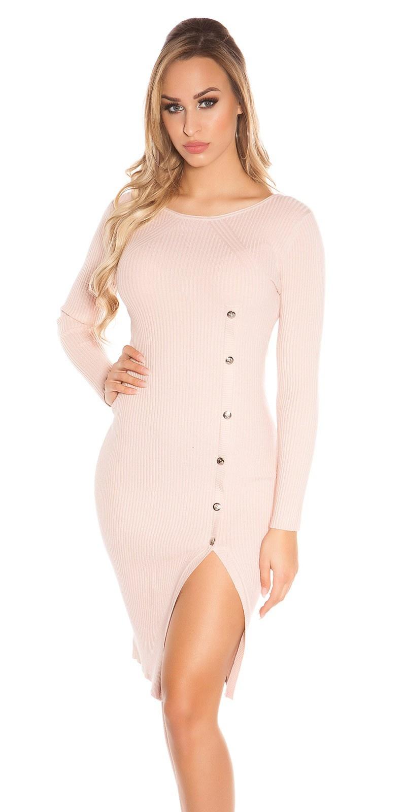 Sexy KouCla Ripp Knit dress w. deco buttons Antiquepink