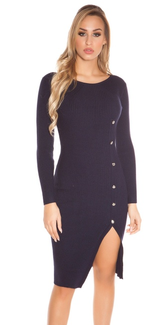 Sexy KouCla Ripp Knit dress w. deco buttons Navy