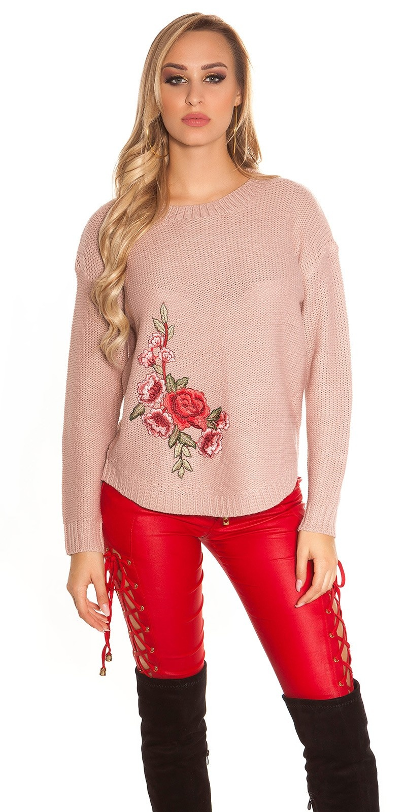 Trendy KouCla knit jumper with embroidery Antiquepink