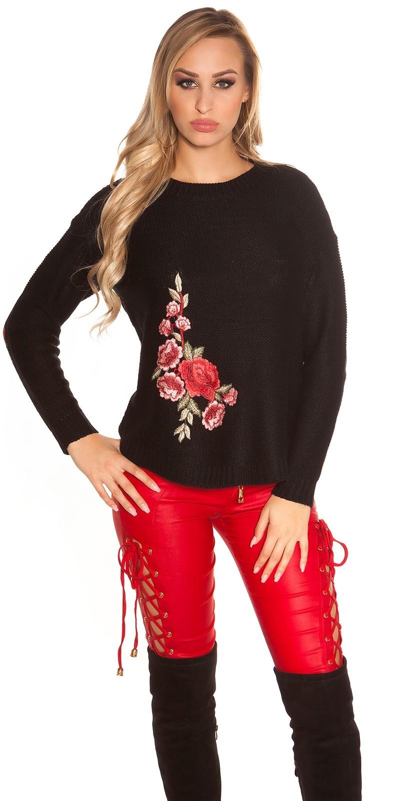 Trendy gebreide trui met borduurwerk zwart