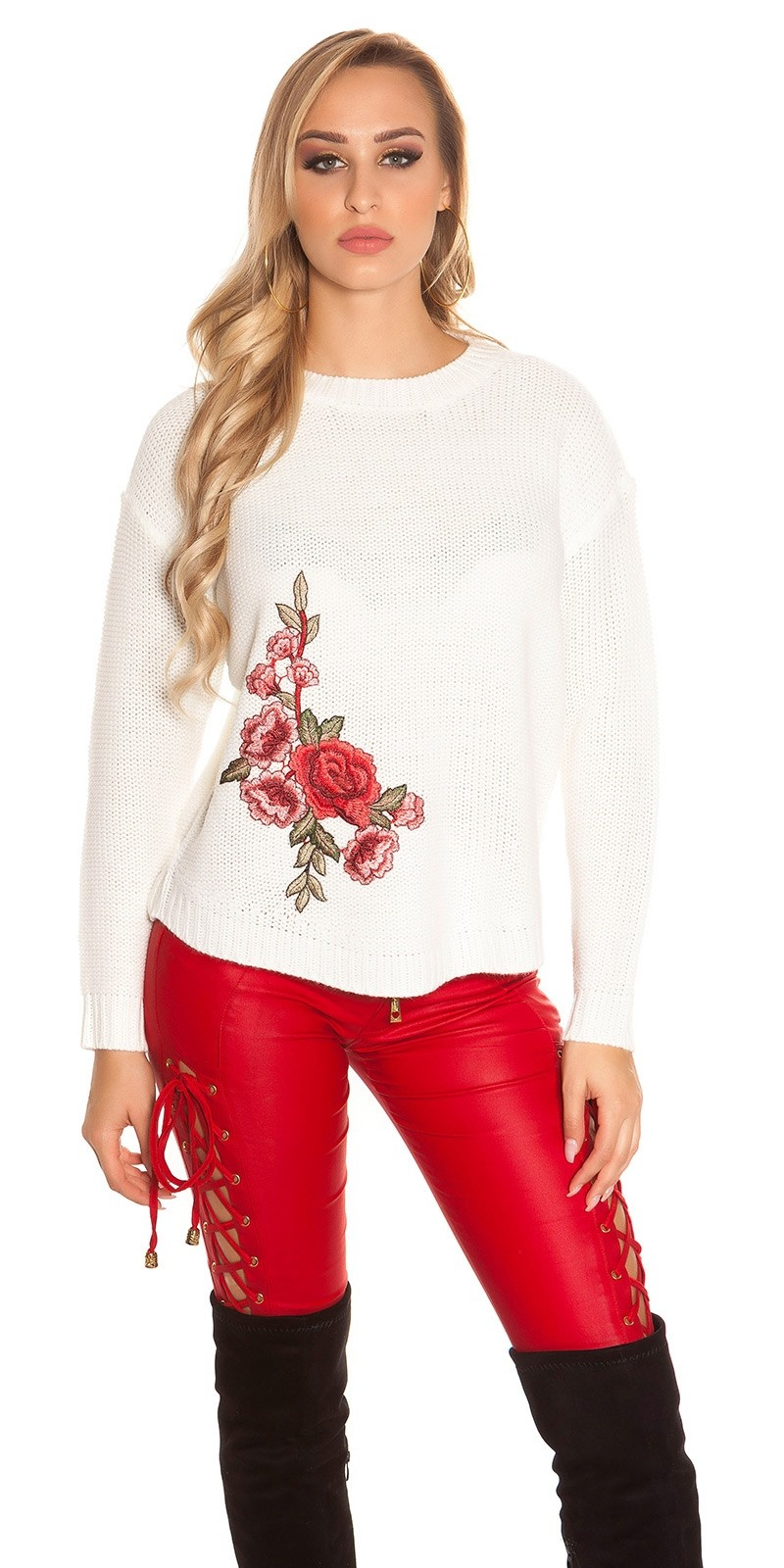 Trendy KouCla knit jumper with embroidery White