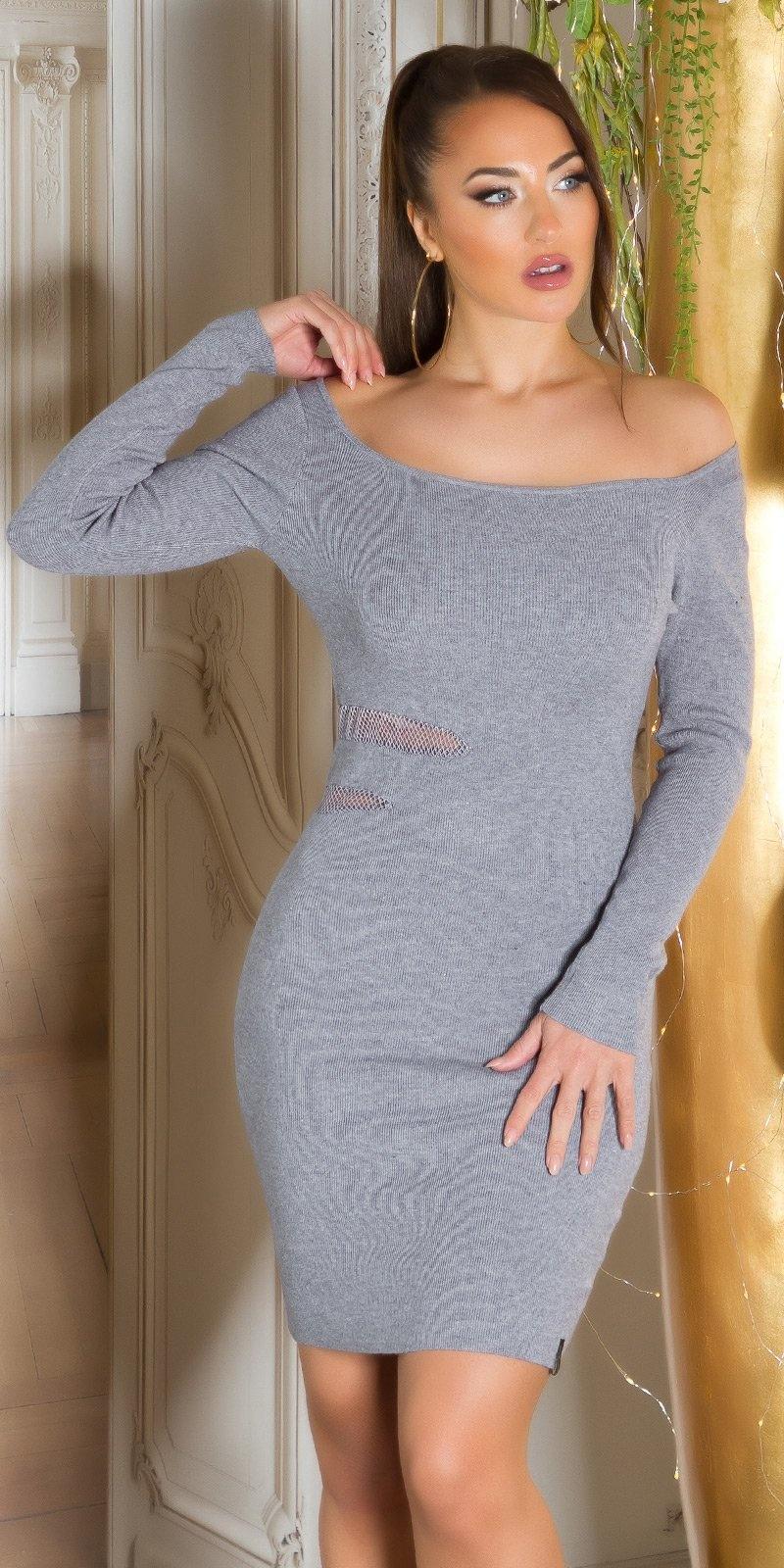 Sexy fijn gebreide jurk met sexy inkijk grijs