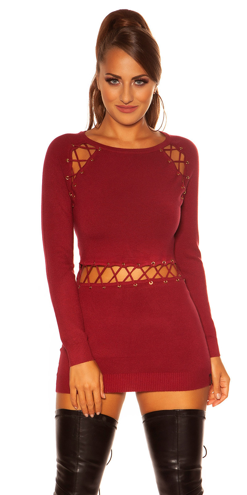 Sexy sweater-trui met sexy veter bordeaux
