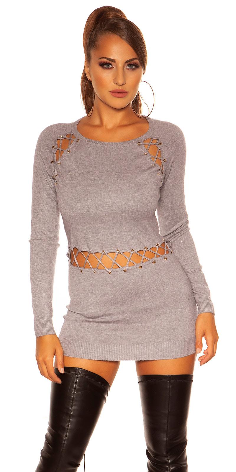 Sexy sweater-trui met sexy veter grijs