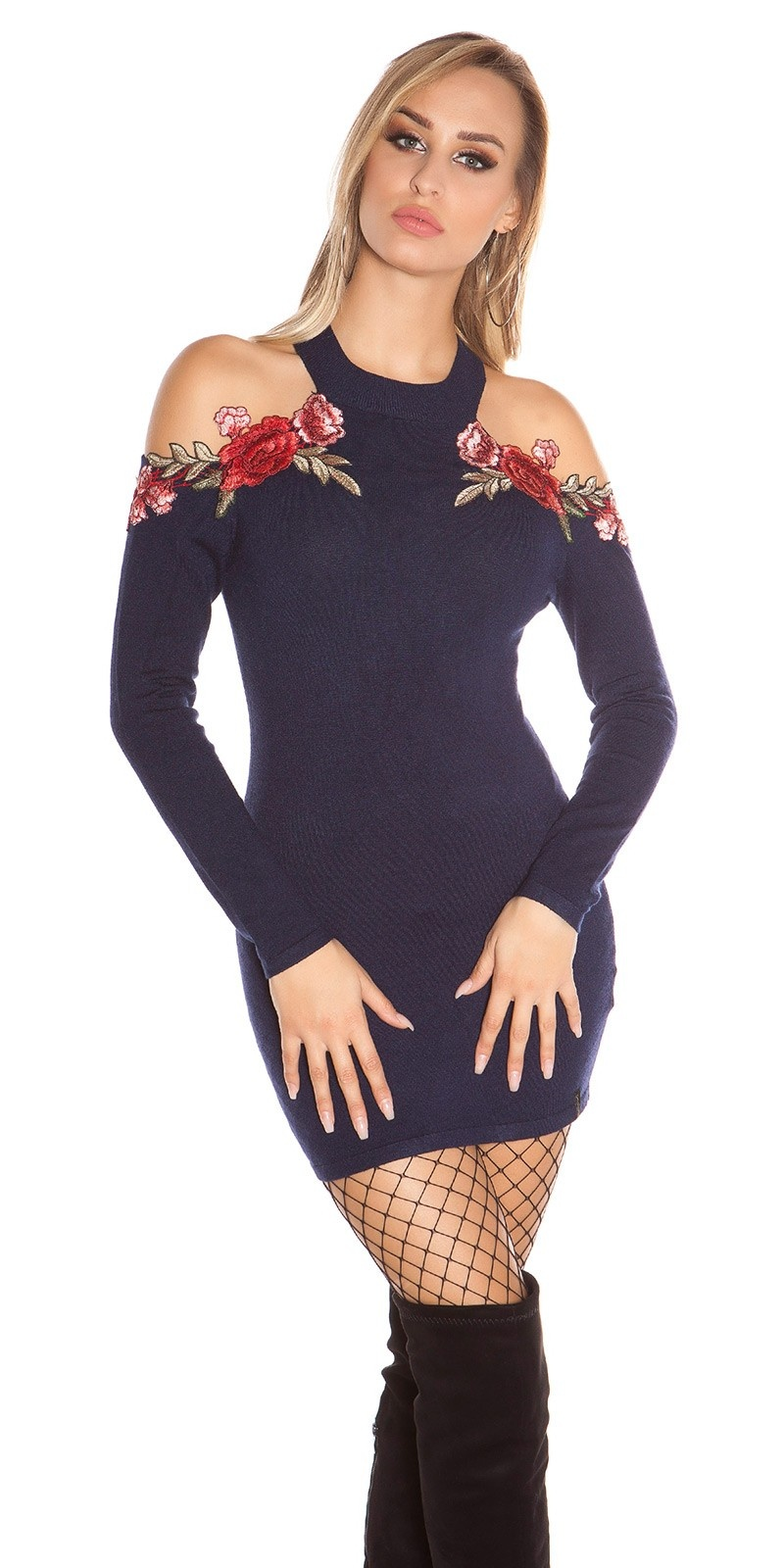 Sexy KouCla coldshoulder knit dress w. embroidery Navy