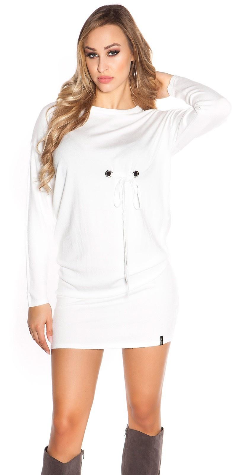 Sexy lange mouw mini jurkje met oogjes wit