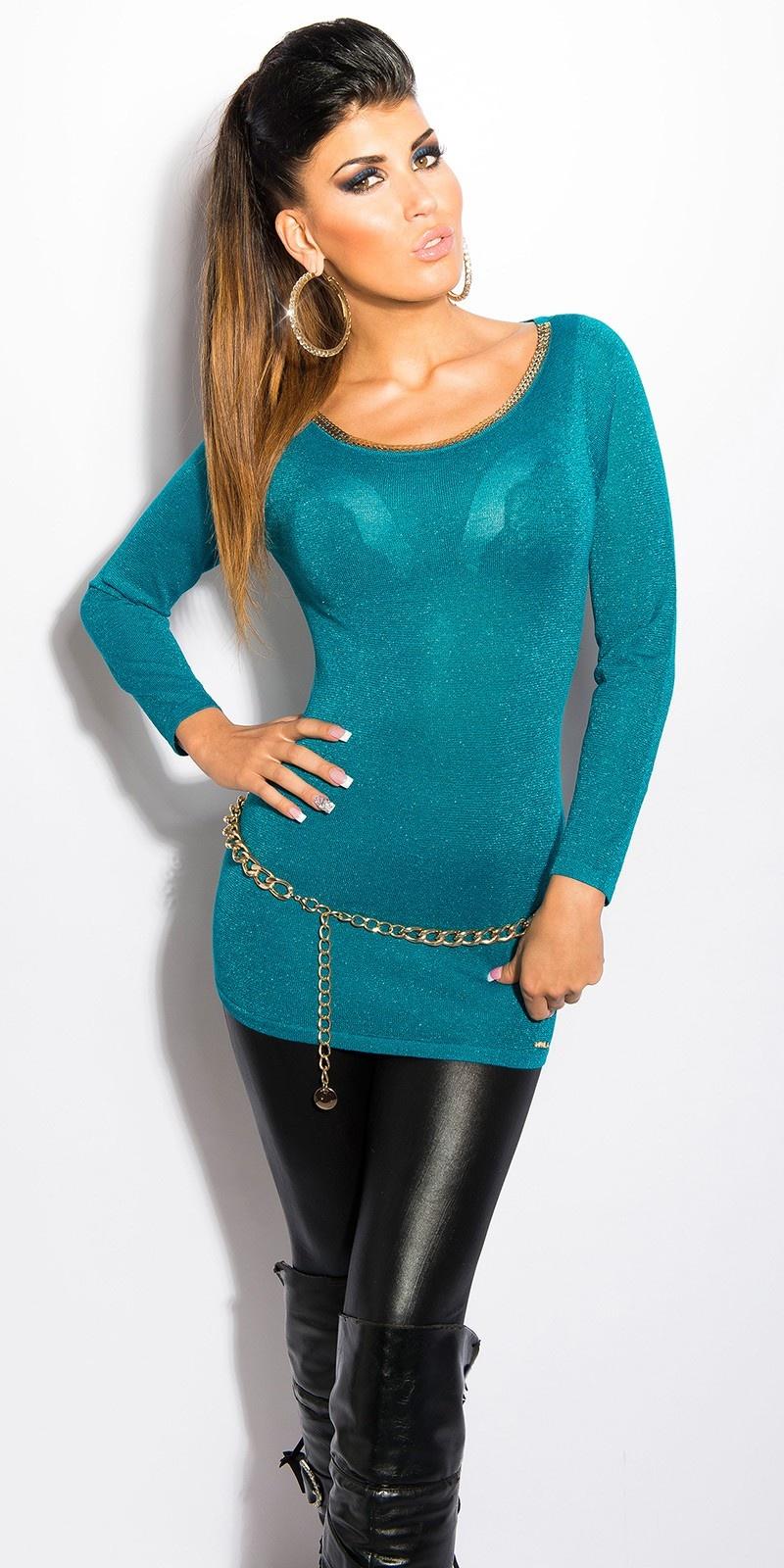 Sexy lurex-trui met uitsparing op de rug saffierblauw