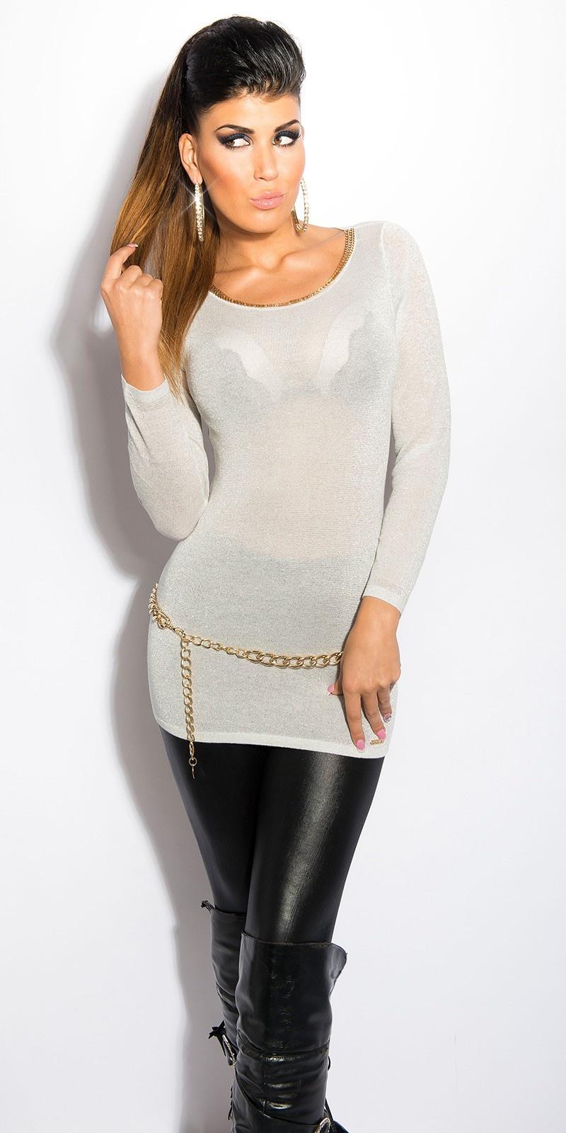 Sexy lurex-trui met uitsparingen op de rug zilver