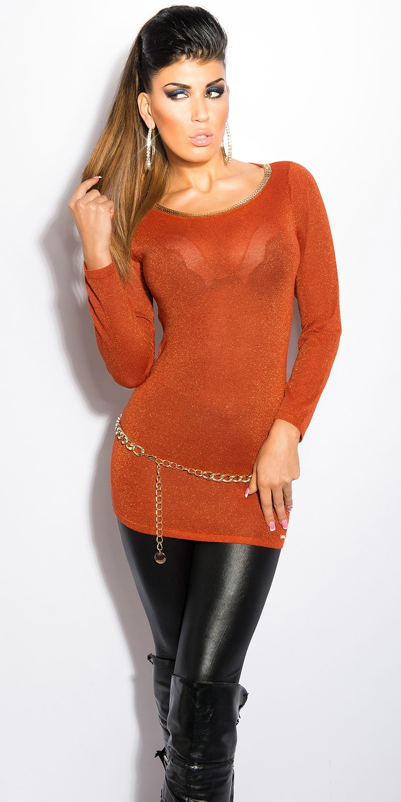 Sexy lurex-trui met uitsparing op de rug oker