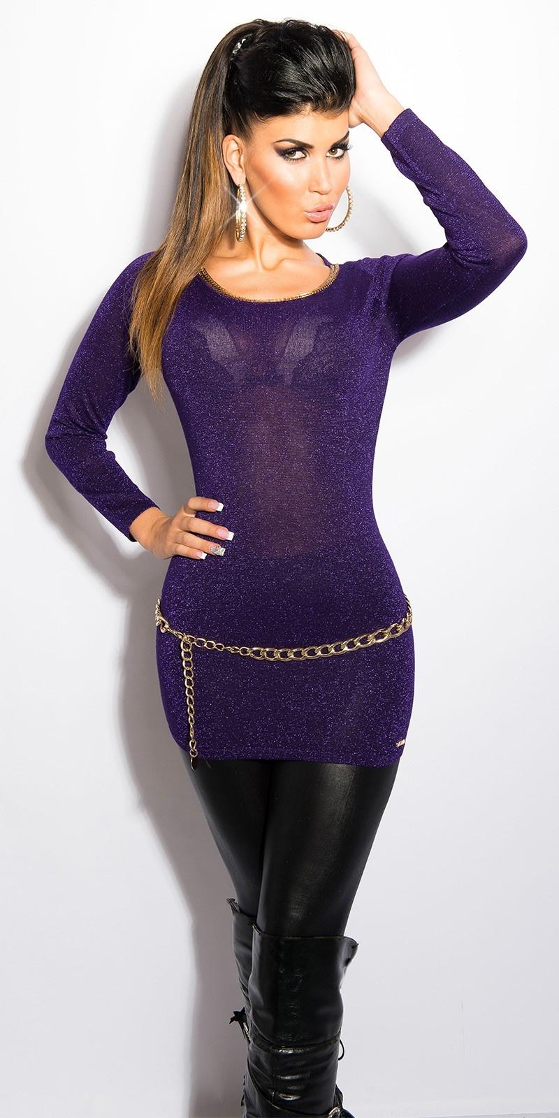 Sexy lurex-trui met uitsparing op de rug paars