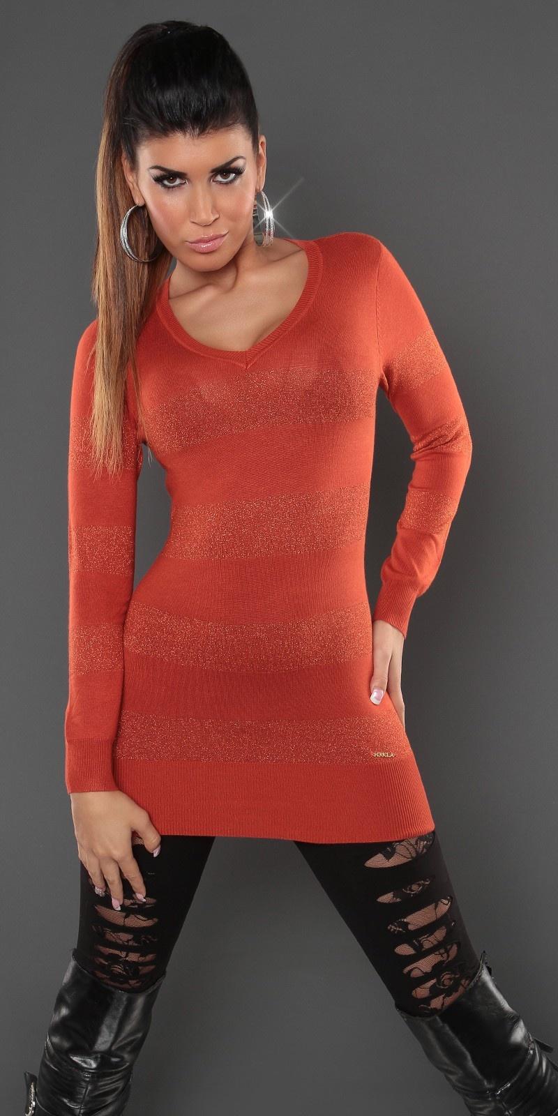 Sexy lange sweater-trui met glitter-effect oker