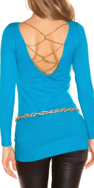 Sexy KouCla longsweater with chains Turquoise