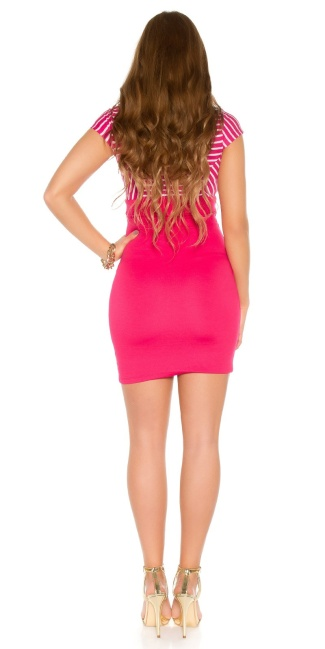 Sexy KouCla mini dress with zip and buttons Fuchsia