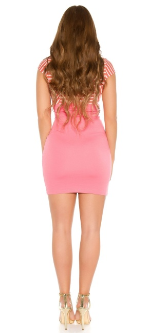 Sexy KouCla mini dress with zip and buttons Salmon