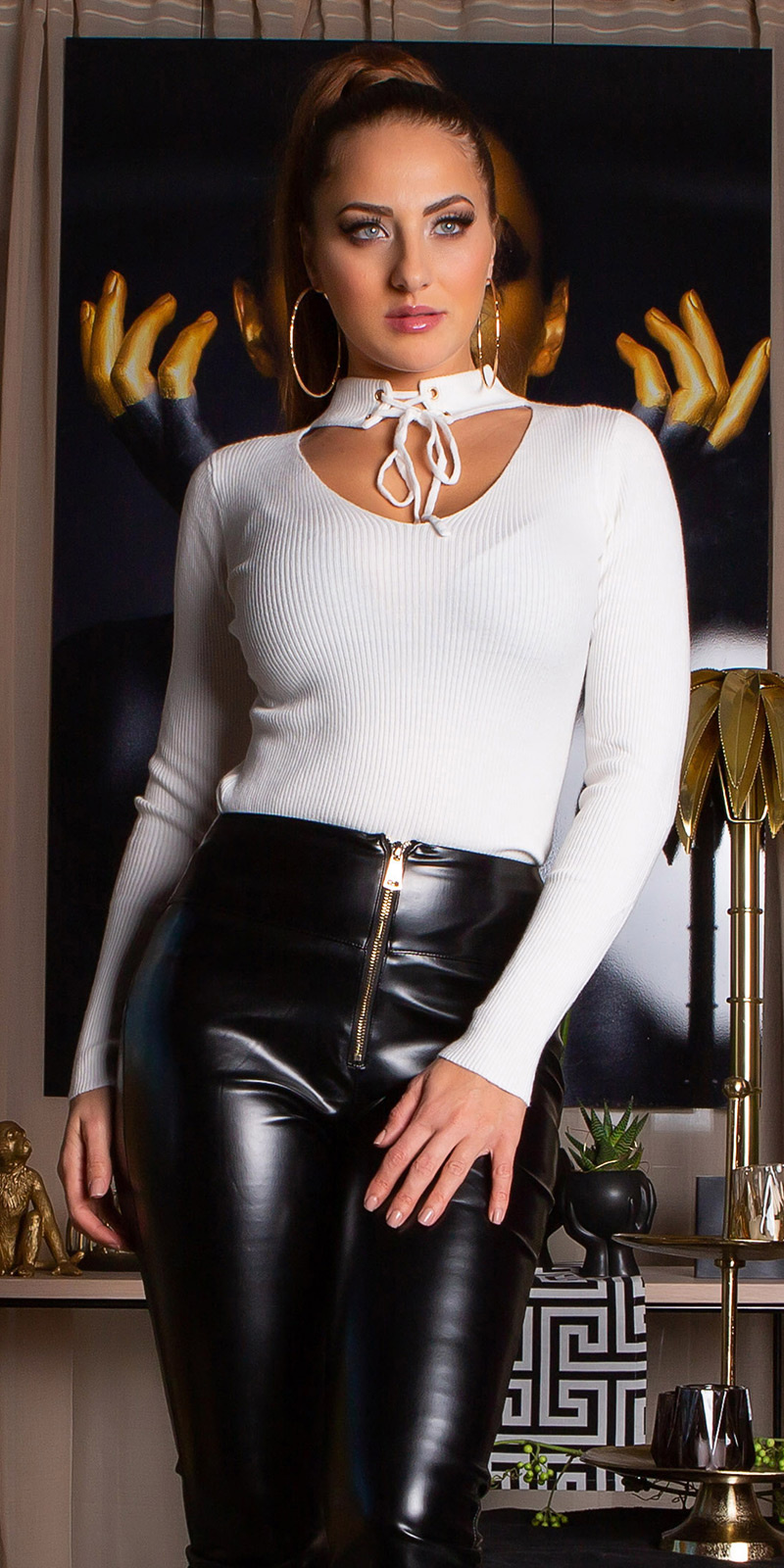 Sexy v-hals geribde trui wit