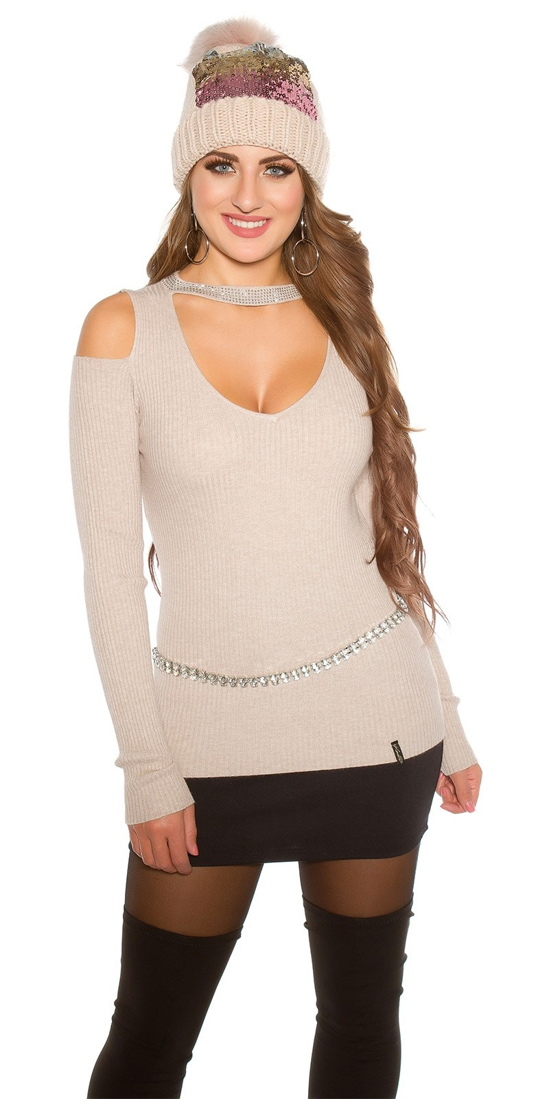 Sexy KouCla Ripp jumper with Cut Out & Rivets Cappuccino