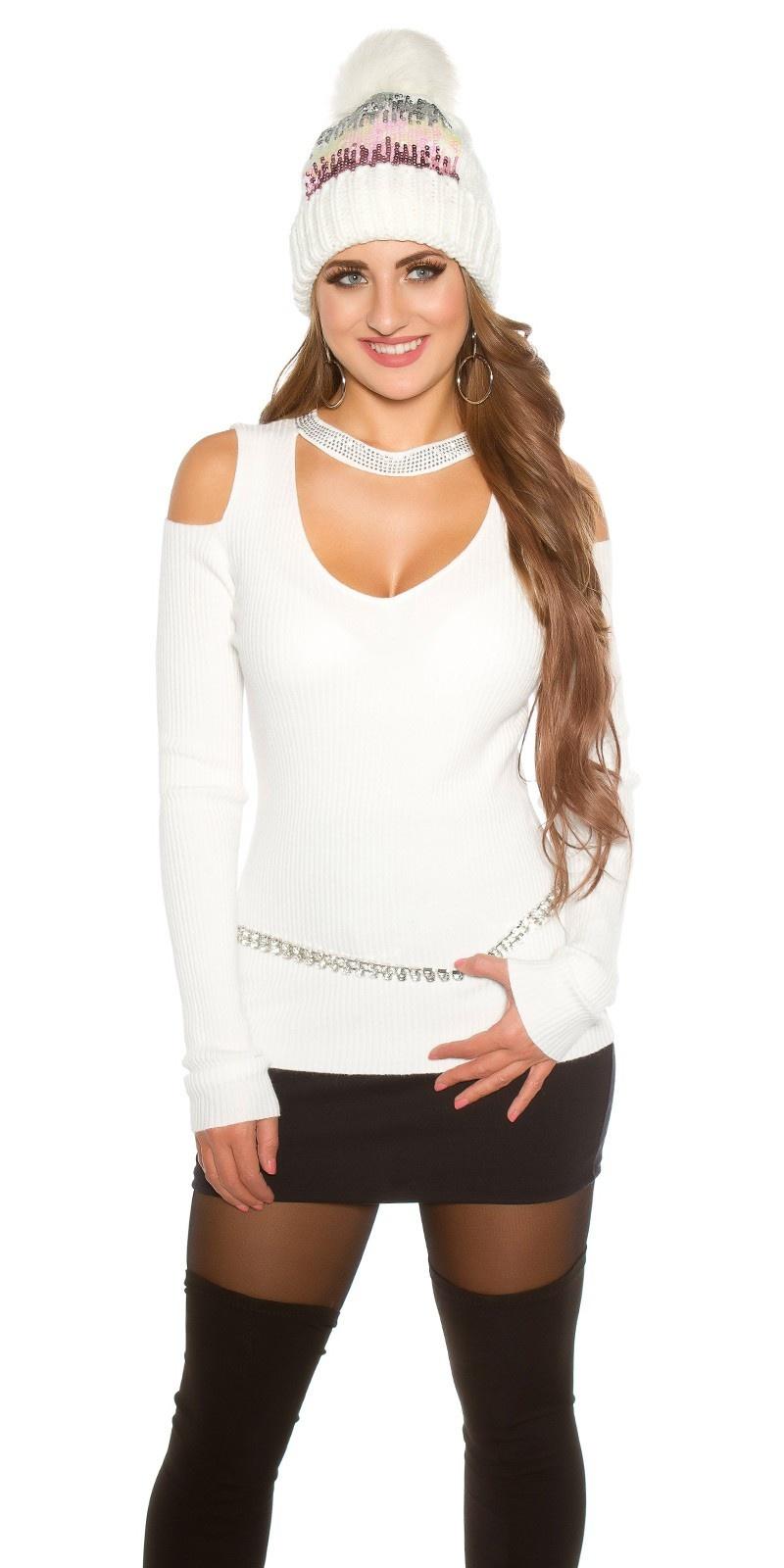 Sexy geribde trui met uitsparing & klinknagels wit