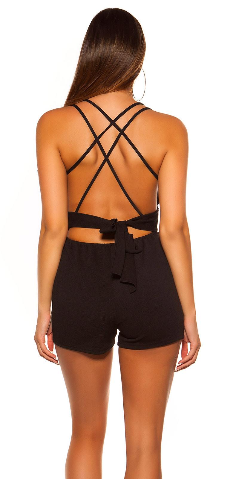 Sexy KouCla straps playsuit with bow Black