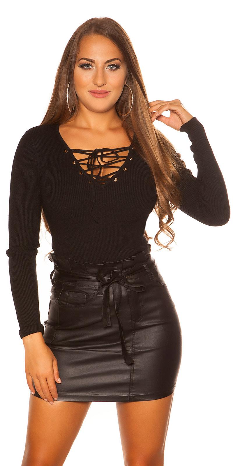 Sexy sweater-trui met v-hals veter zwart