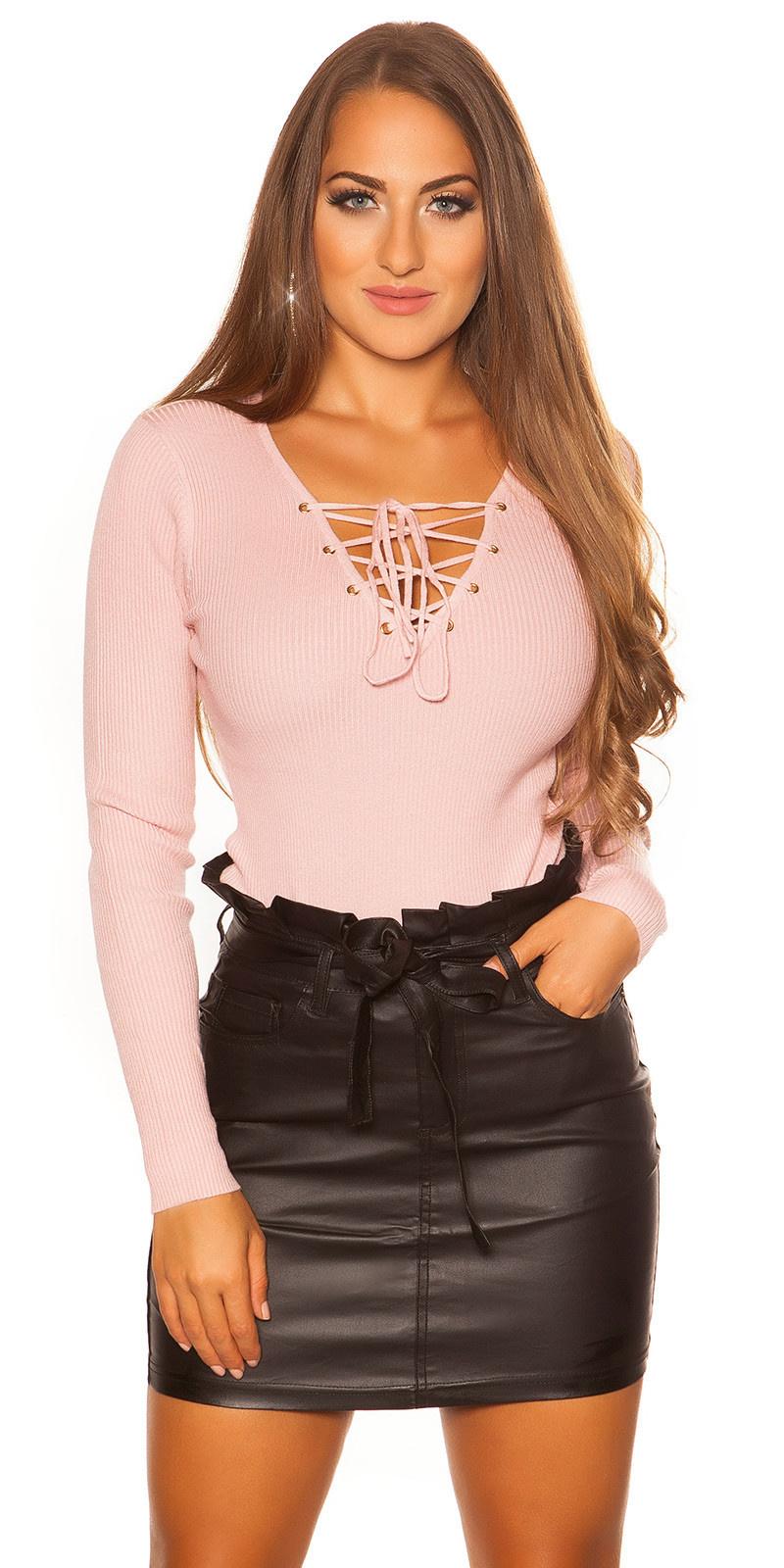 Sexy sweater-trui met v-hals veter roze