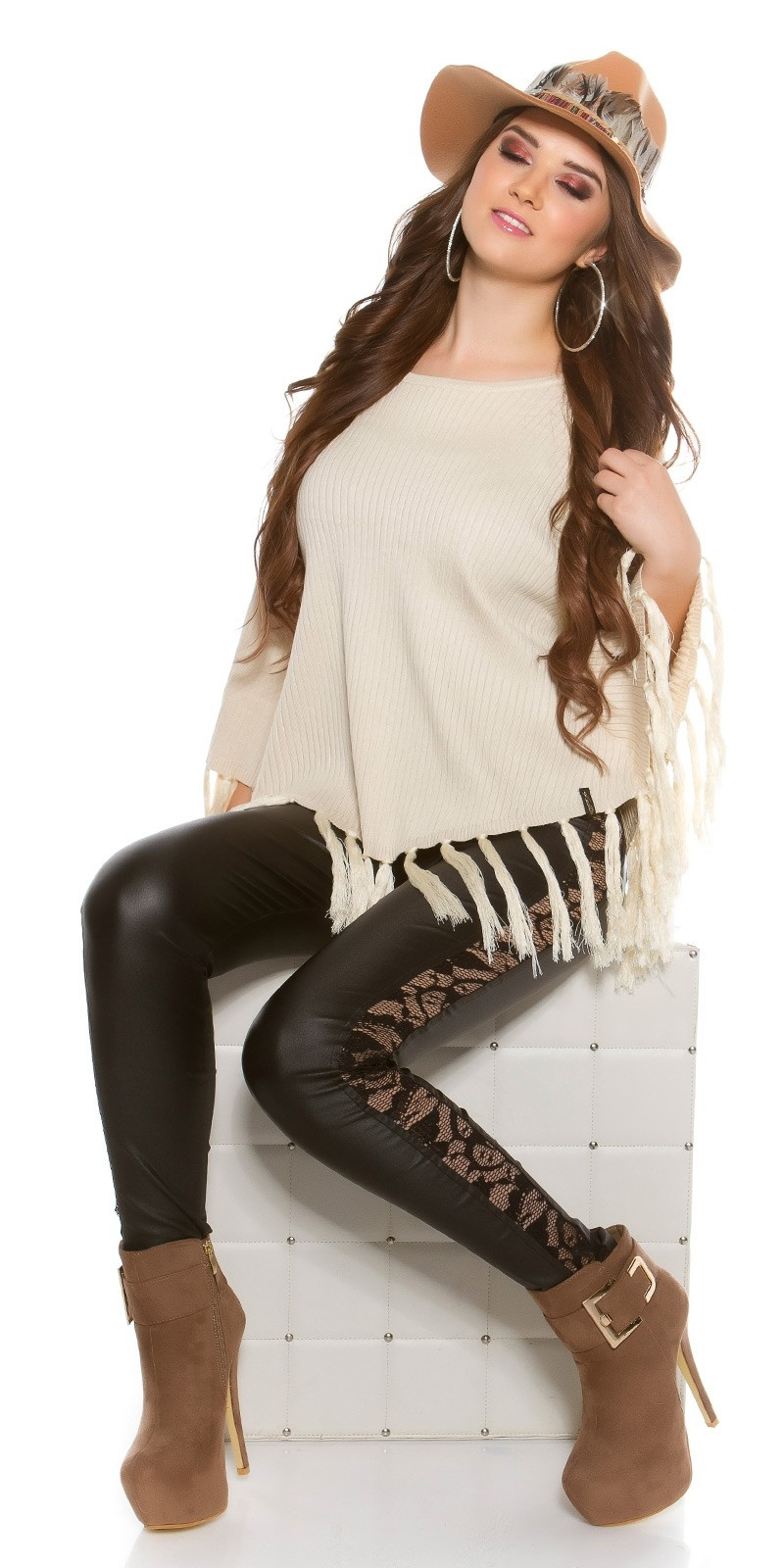 Trendy KouCla poncho with fringes Beige