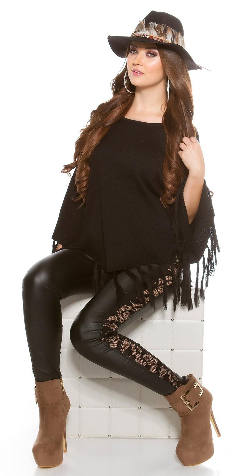 Trendy poncho met franjes zwart