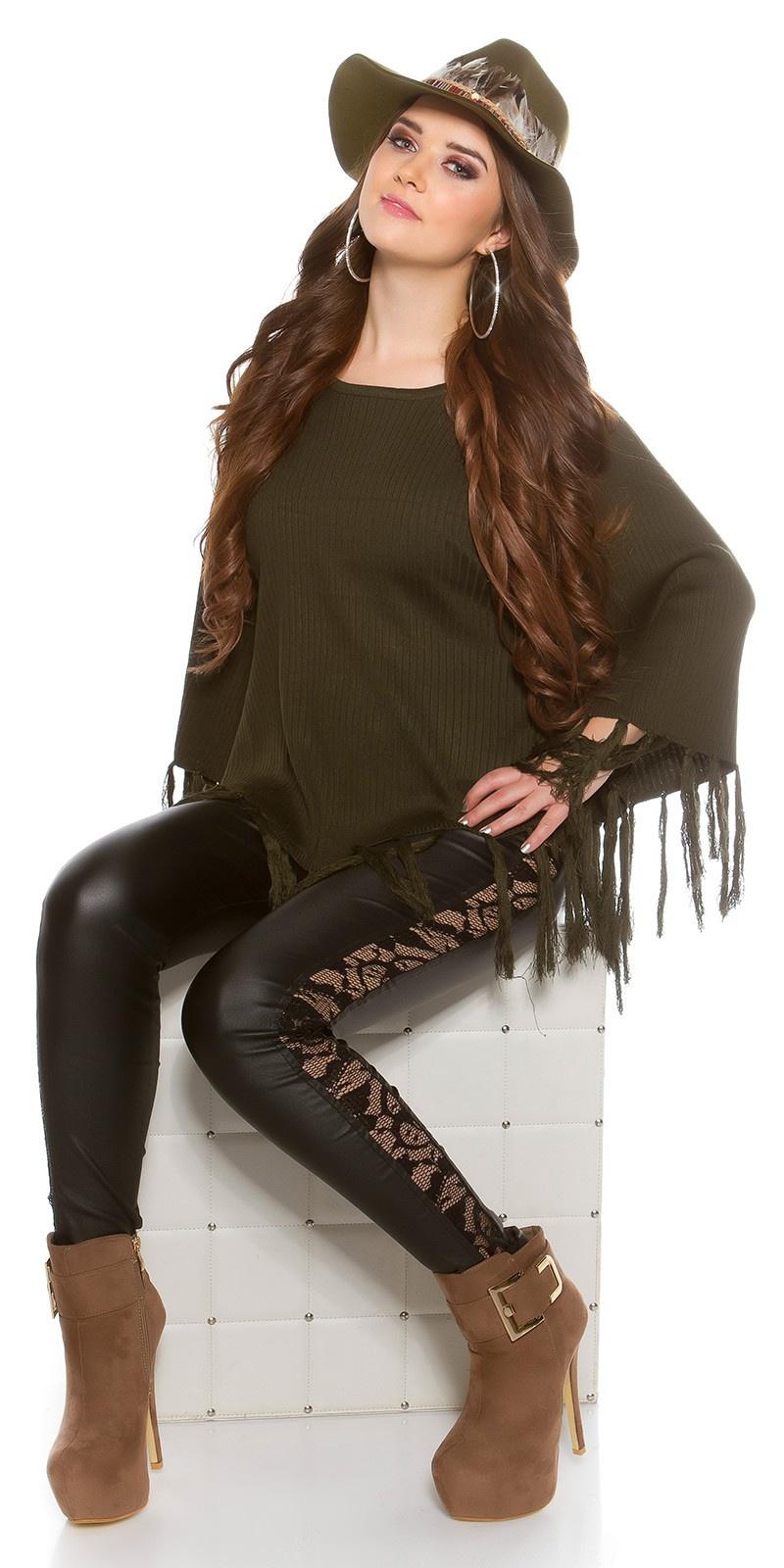 Trendy poncho met franjes khaki