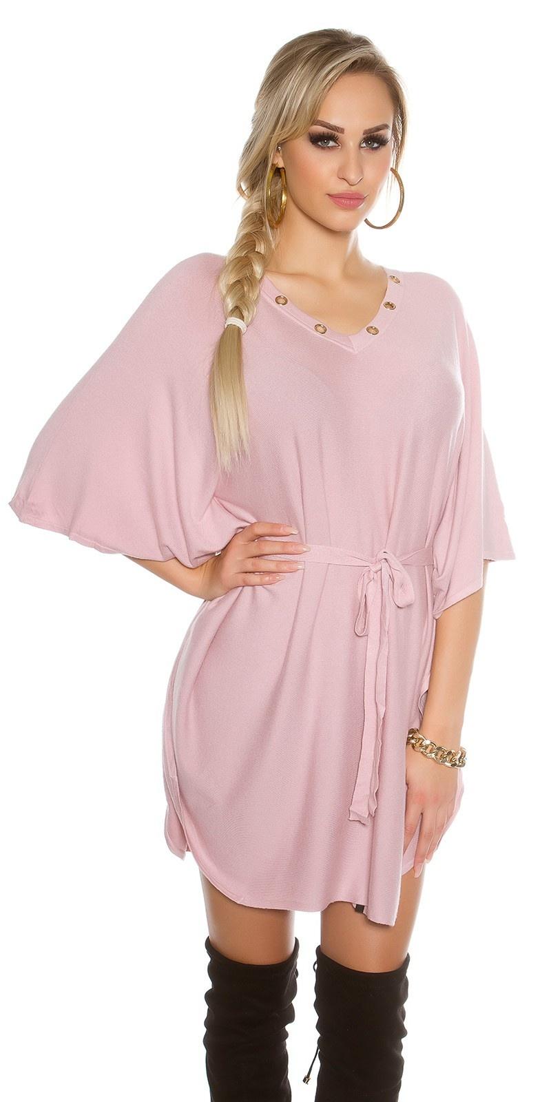 Gebreide vleermuis-jurk oudroze