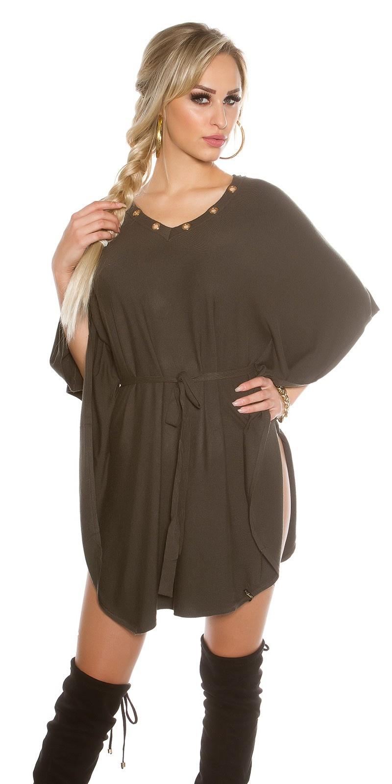 Gebreide vleermuis-jurk khaki