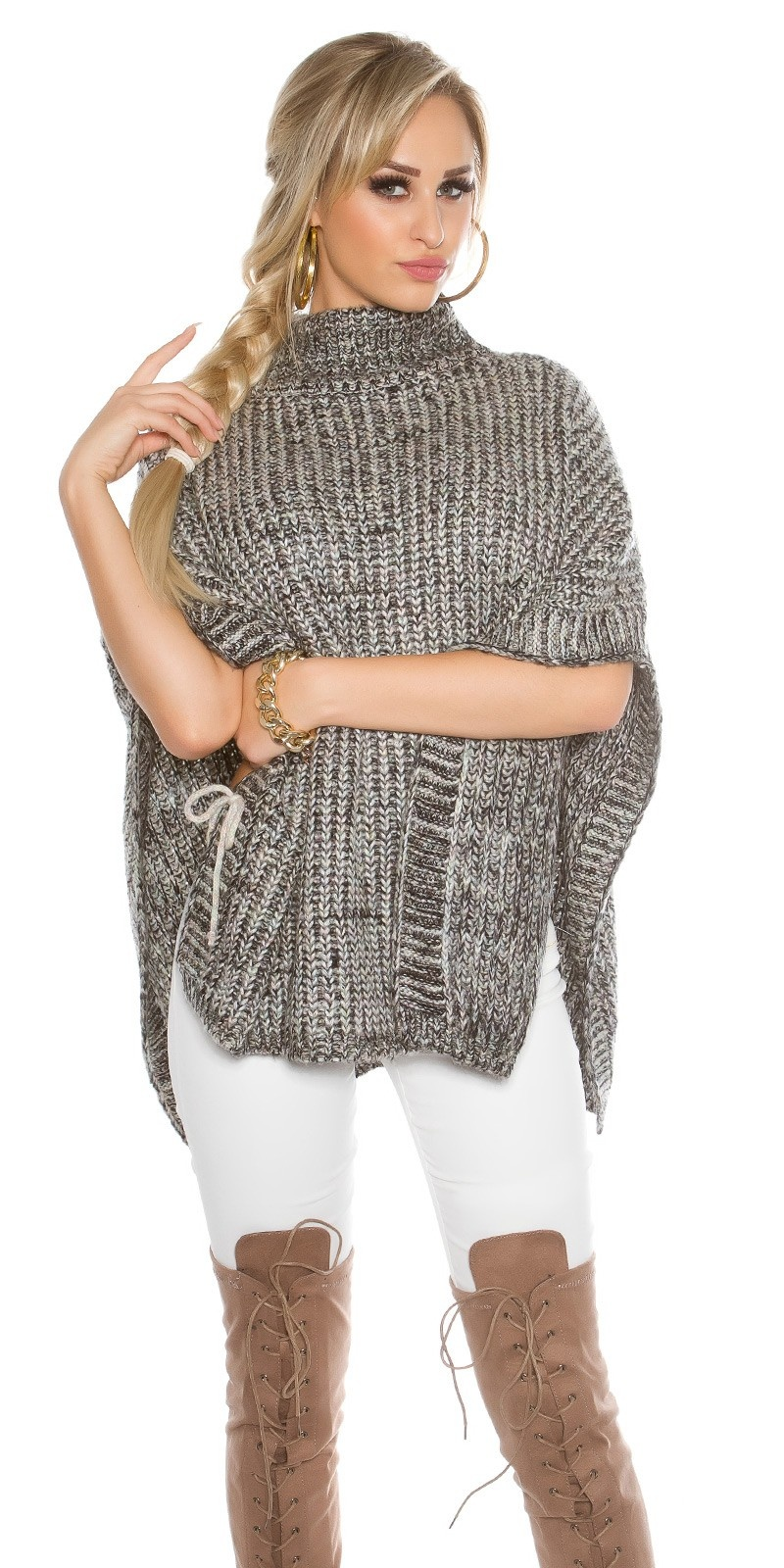chunky knit poncho with turtleneck Black