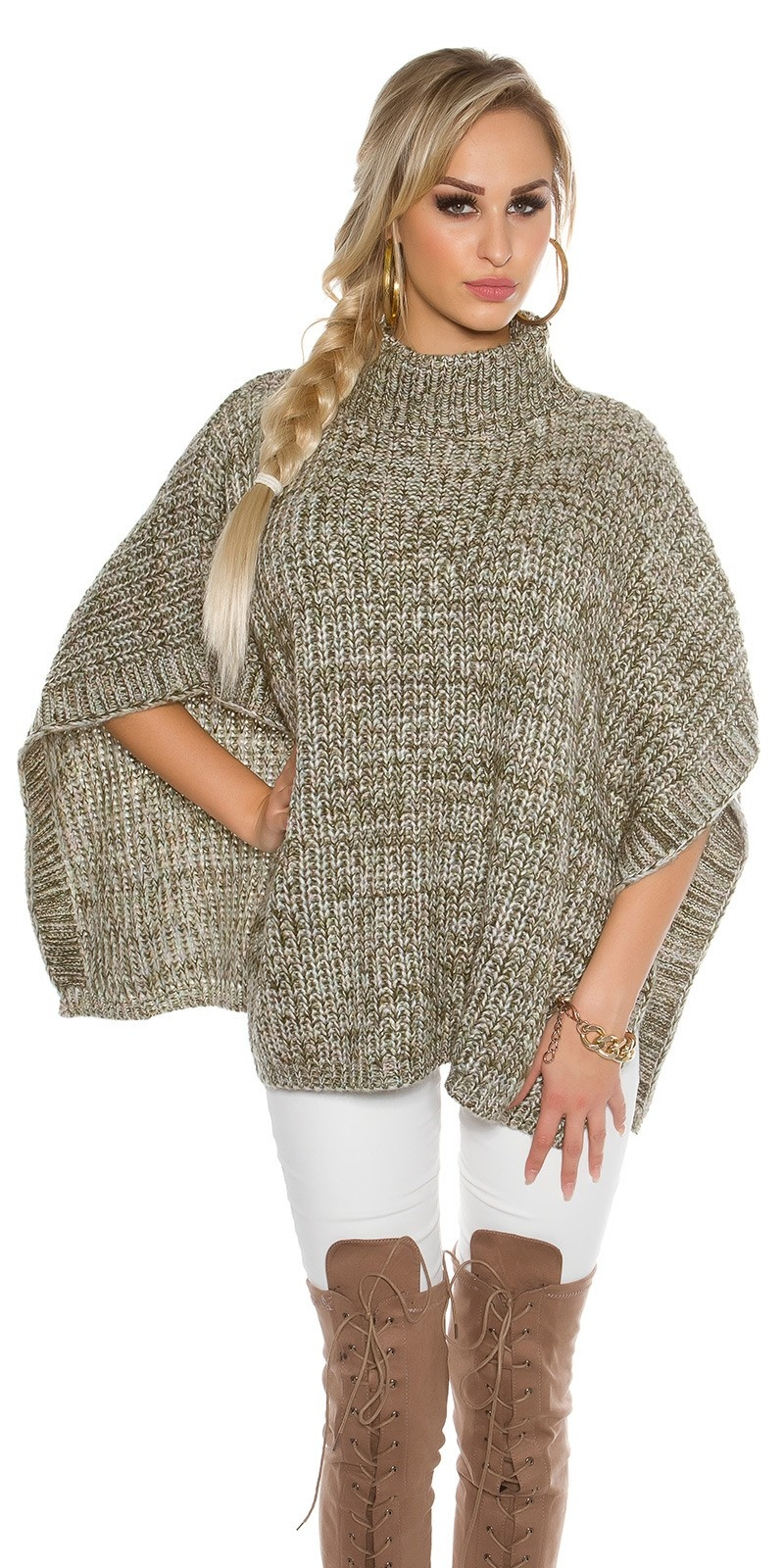 chunky knit poncho with turtleneck Khaki