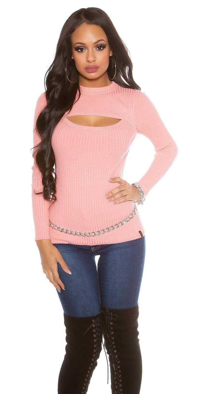 Geribbelde sweater-trui met sexy decollet? oudroze