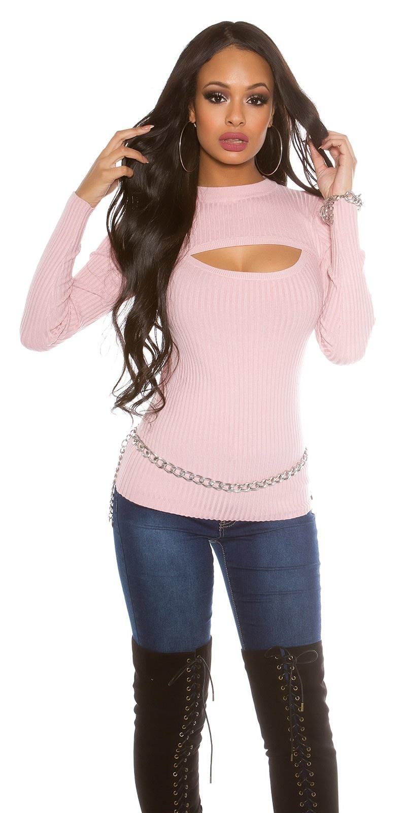 Geribbelde sweater-trui met sexy decollet? rose
