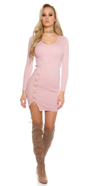 Sexy KouCla V-Cut knitted dress with deco chain Antiquepink