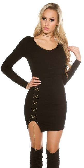 Sexy KouCla V-Cut knitted dress with deco chain Black