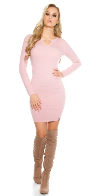 Sexy knit dress with V-cut and lacing Antiquepink