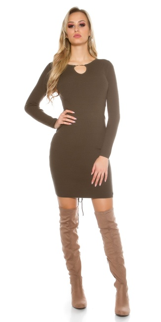 Sexy knit dress with V-cut and lacing Khaki