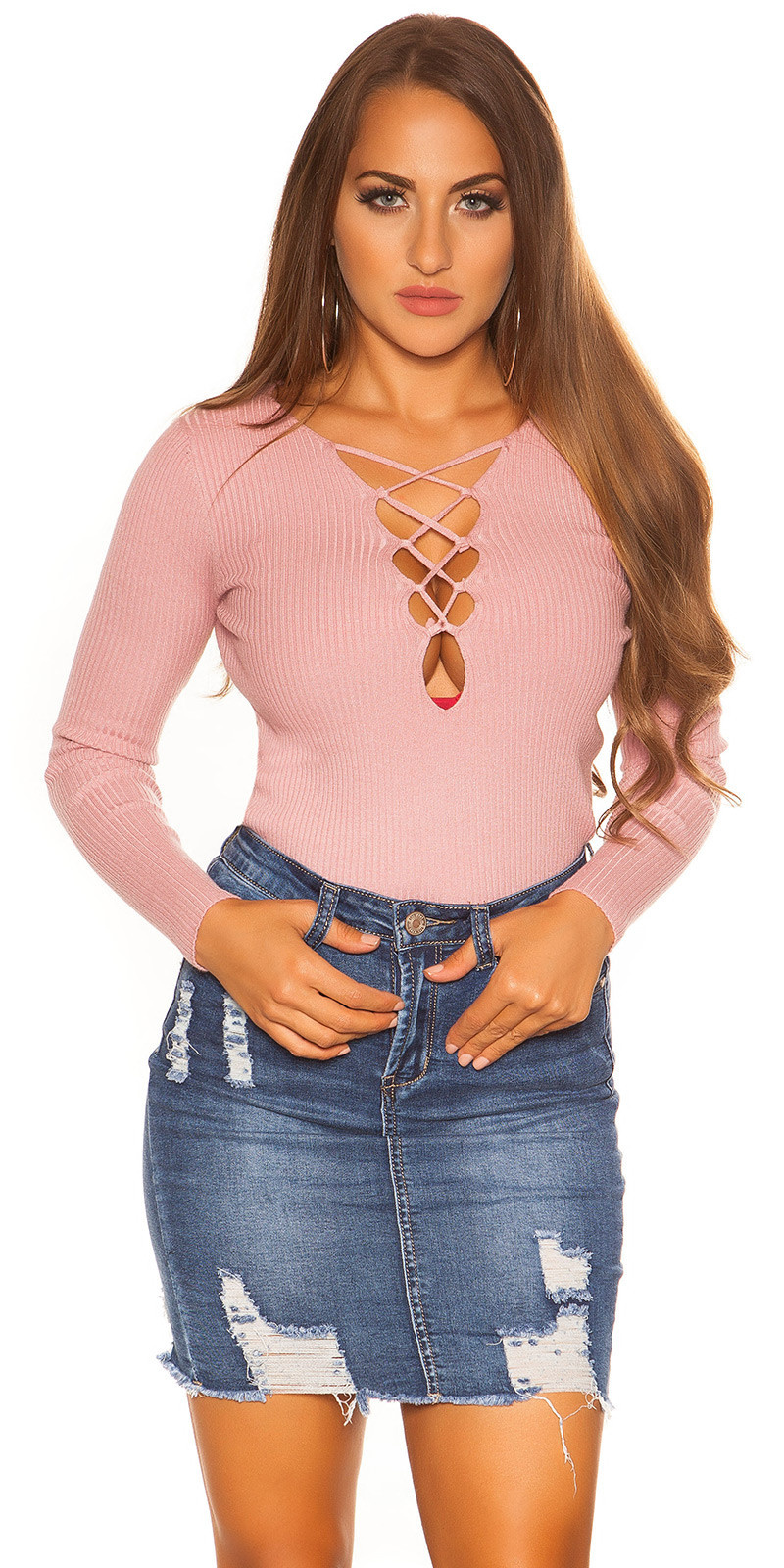 Sexy sweater-trui met veter halslijn antiekroze