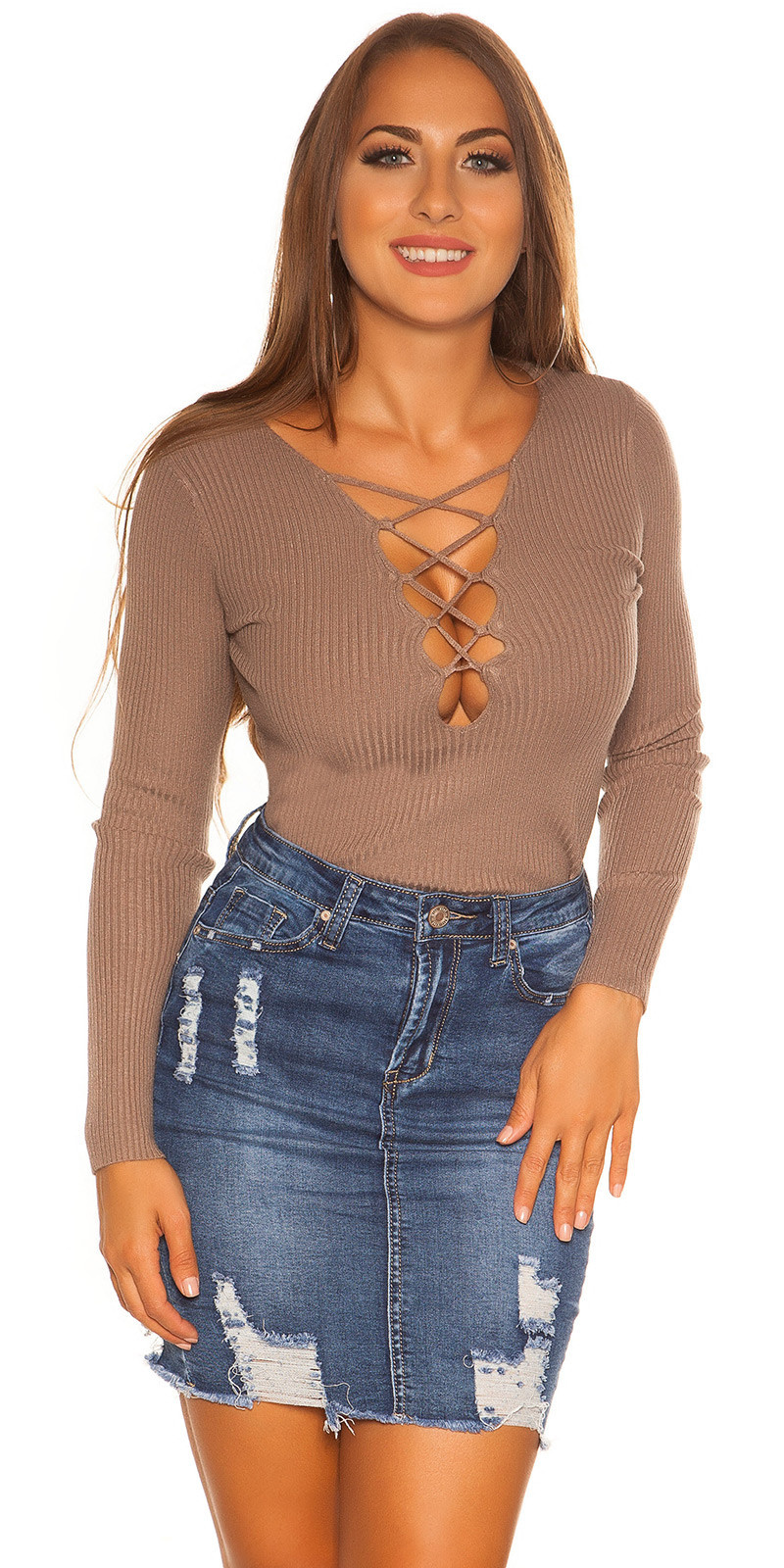 Sexy KouCla sweater with laced neckline Cappuccino