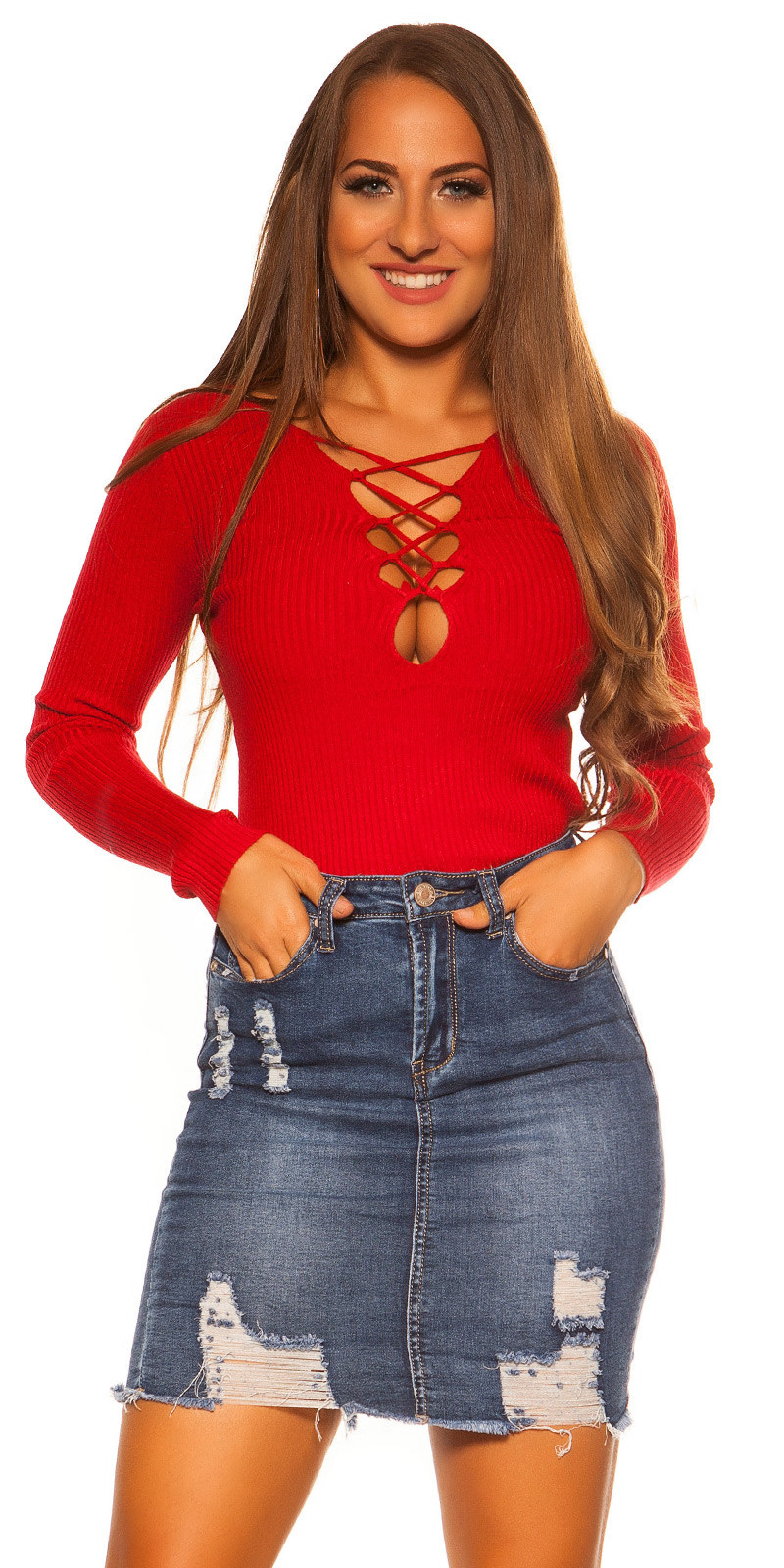 Sexy KouCla sweater with laced neckline Red