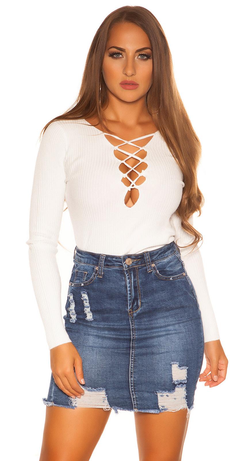 Sexy KouCla sweater with laced neckline White